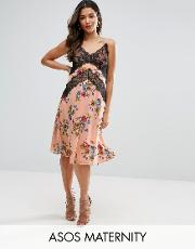 cami dress with lace detail in floral print