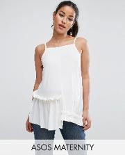 cami in crepe with square neck asymmetric ruffles
