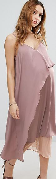 Cami Midi Dress With Mesh Insert