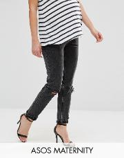 farleigh slim mom jean in lulu washed black with busted knee  under the bump waistband