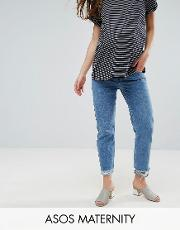 florence authentic straight leg jean in mid blue with stepped waistband  raw hem
