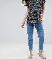 florence authentic straight leg jean in mid blue with stepped waistband  raw hem  under  bump