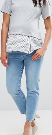 Florence Authentic Straight Leg Jeans In Cambridge Light Mid Wash With Under  Bump Waistband