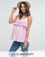 gingham double layer cami with embroidery