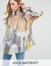 high neck blouse in abstract print