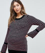 Jumper With Stripe And Fluted Sleeve