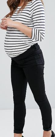 lisbon mid rise ankle grazer jeans in clean black with under the bump waistband