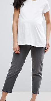 Maddox Parallel Crop Jeans In Charcoal With Abrasion Hem