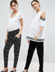 Petite 2 Pack Jersey Peg Trousers In Plain Black And Blurred Spot Print