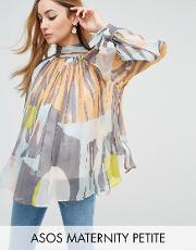 petite high neck blouse in abstract print