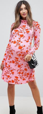 Polo Neck Mini Dress With Godets Floral Print