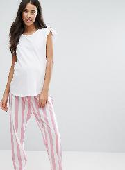 Pyjama Set With Striped Bottoms And Ruffle Shoulder