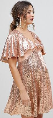 sequin fluted sleeve lace mini dress