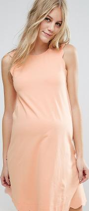 Shift Dress With Scallop Detail