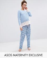 stripe long sleeve top & trouser pyjama set