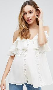 Tall Cold Shoulder Cami With Lace Trim