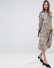 midi dress with one sleeve and ruched detail in animal print