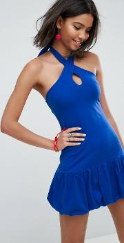 Mini Halterneck Bodycon Sundress With Bubble Hem