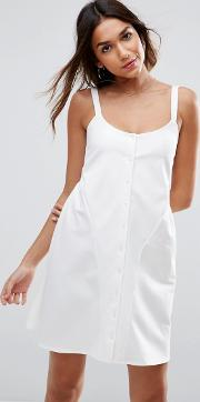 mini smock babydoll dress with button detail