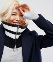 mono stripe snood with ring zip