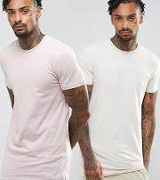 muscle fit longline  shirt 2 pack