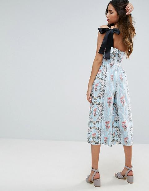 32aa4a37b625 one shoulder cotton jumpsuit in floral print. Follow asos