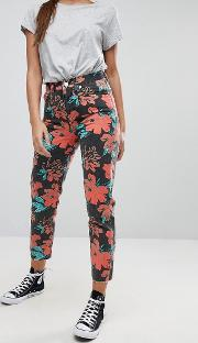 Original Mom Jeans  Washed Floral Print