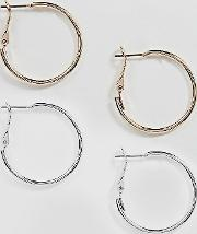 pack of 2 simple hoop earrings