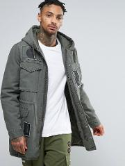 Parka With Allover Patches In Khaki