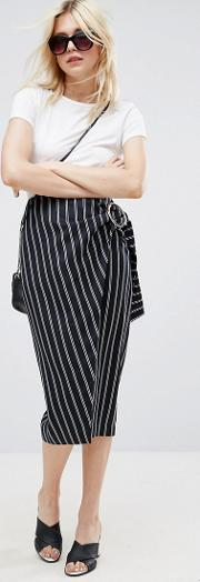 Pencil Skirt In Stripe With Large Buckle Detail