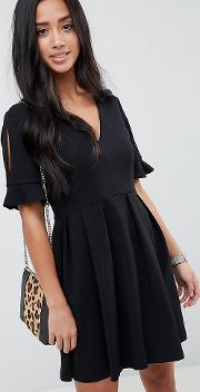 asos design petite mini v neck smock dress with frill cuff 282e73e0d