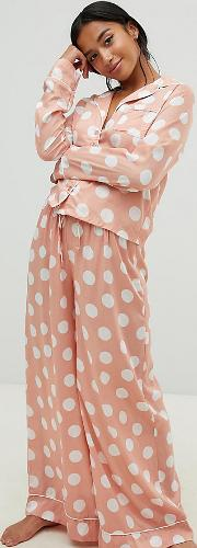 asos design petite polka dot pyjama shirt and wide leg set 100 modal
