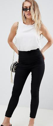 asos design petite pull on jegging  black with clean waistband detail