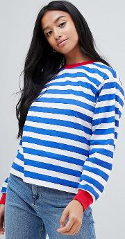 asos design petite  shirt with long sleeve in stripe  contrast collar and cuffs
