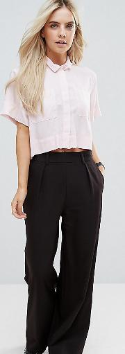 asos design petite the wide leg trouser with pleat detail