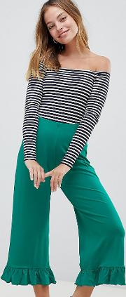 asos design petite trousers with fluted ruffle hem