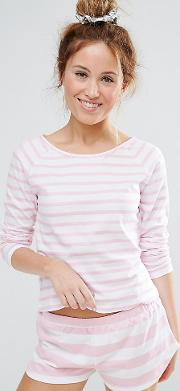 Breton Stripe Tee And Short Pyjama Set