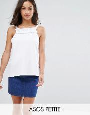 cami in ponte with square ruffle neck