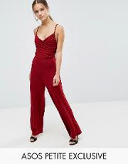 cami jumpsuit with rouched bodice and wide leg