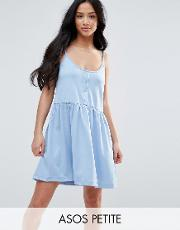 cami smock dress with button placket