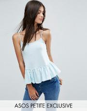 cami with satin frill hem