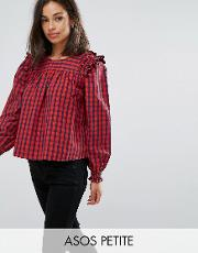 check smock top with ruffle detail