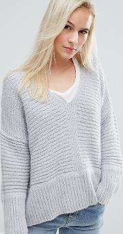 Chunky Jumper In Fluffy Yarn With V Neck
