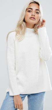 Chunky Jumper With Turtle Neck In Fluffy Yarn