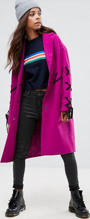 Coat With Lace Up Detail