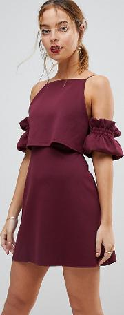 crop top ruffle sleeve mini dress