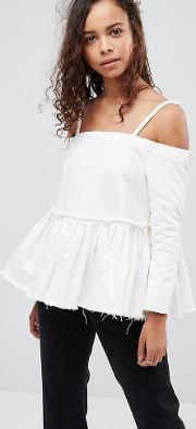 Denim Cold Shoulder Top With Pleated Peplum And Cuff Detail