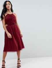Dobby High Neck Midi Dress With Cut Out Sides