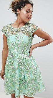Edition Petite Sequin Embroidered Skater Mini Dress