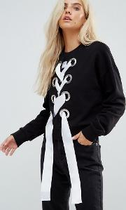Exclusive Sweatshirt With Lace Up And Oversized Eyelets